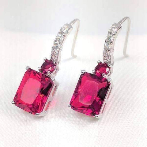 Feshionn IOBI Earrings Ultra Pink Exquisite Emerald Cut 4CT Dangling CZ Earrings