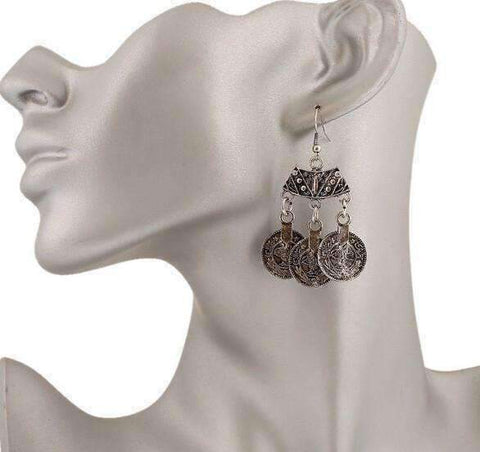 Feshionn IOBI Earrings Vintage Persian Coin Dangling Tassel Earrings