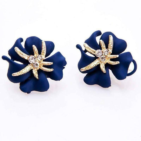 Feshionn IOBI Earrings Violet Blue Golden Blossoms Shimmering Stud Earrings