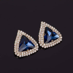 Feshionn IOBI Earrings Waltzing Blue Bold Trillion Stone Stud Earrings