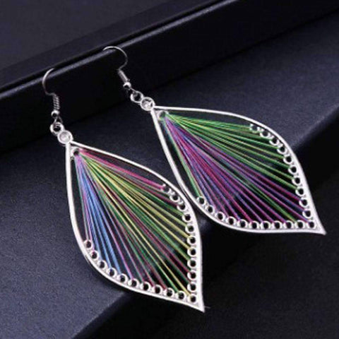 Feshionn IOBI Earrings Watercolors Global Beauty Silk Thread String Art Drop Earrings In Three Colors