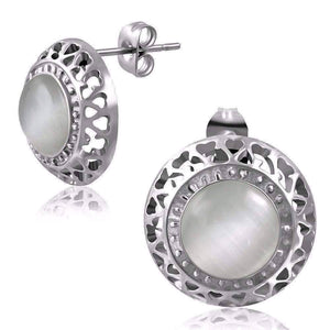 Feshionn IOBI Earrings White Aura White Cat Eye Gemstone Stainless Steel Stud Earrings