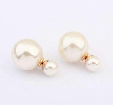Feshionn IOBI Earrings White Bowling Pin Reversible Pearl Earrings - Five Colors to Choose!