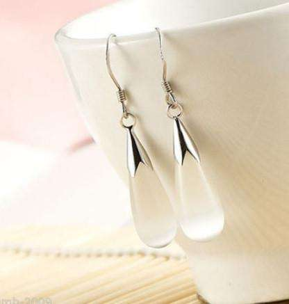 Feshionn IOBI Earrings White Cat Eye Opalescent Cat Eye Waterdrop Dangling Hook Earrings
