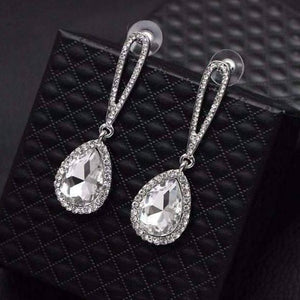 Feshionn IOBI Earrings White Evening Splendor Austrian Crystal Drop Earrings in Three Elegant Colors