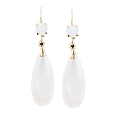 Feshionn IOBI Earrings White Fascinating Long Teardrop Bead and CZ Dangle Earrings ~ Six Colors to Choose!