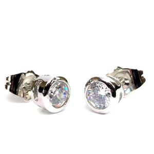 Feshionn IOBI Earrings White Gold 5mm ON SALE - Bezel IOBI Crystals Stud Earrings