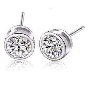 Feshionn IOBI Earrings White Gold 8mm ON SALE - Bezel IOBI Crystals Stud Earrings