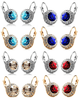 Image of Feshionn IOBI Earrings White Gold / Aqua Colorful Bezel Set IOBI Crystals Earrings