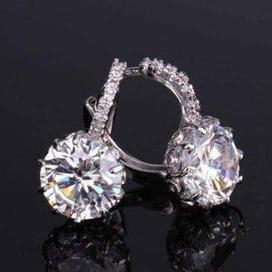 Feshionn IOBI Earrings White Gold Diamond CZ Solitaire Hoop Earrings In White Or Yellow Gold