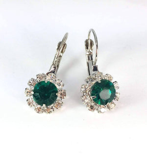 Feshionn IOBI Earrings White Gold Emerald Crystal Flower Drop Lever Back Earrings - White or Yellow Gold