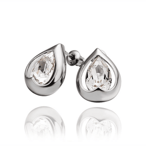 Feshionn IOBI Earrings White Gold Everlasting Love Drop Stud Earrings
