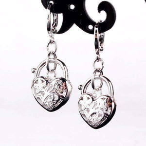 Feshionn IOBI Earrings White Gold Floral Etched Heart Padlock Charm Earrings