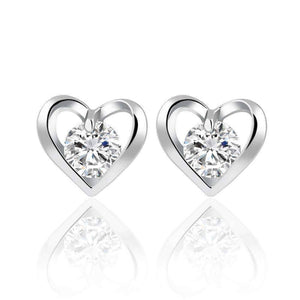 Feshionn IOBI Earrings White Gold Forever in My Heart CZ Stud Earrings ~ White or Rose Gold Plated