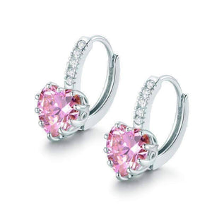 Feshionn IOBI Earrings White Gold Heart Shaped Blushing Pink Diamond CZ Solitaire Hoop Earrings