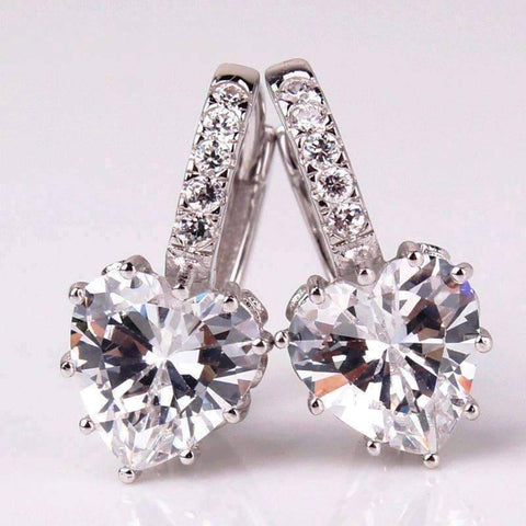 Feshionn IOBI Earrings White Gold Heart Shaped Diamond CZ Solitaire Hoop Earrings In White Or Yellow Gold