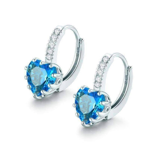 Feshionn IOBI Earrings White Gold Heart Shaped Island Blue Diamond CZ Solitaire Hoop Earrings