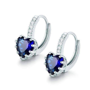 Feshionn IOBI Earrings White Gold Heart Shaped Midnight Blue Diamond CZ Solitaire Hoop Earrings