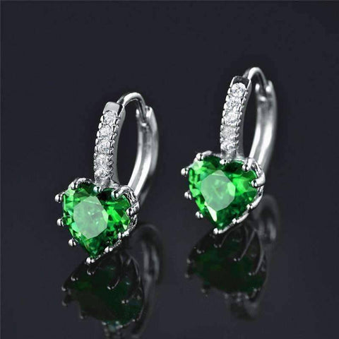 Feshionn IOBI Earrings White Gold Heart Shaped Spring Green Diamond CZ Solitaire Hoop Earrings