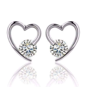 Feshionn IOBI Earrings White Gold Heart Wrapped Austrian Crystal Stud Earrings