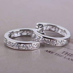 Feshionn IOBI Earrings White Gold ON SALE - Channel Set Sparkly CZ Diamond Petite Hoop Earrings