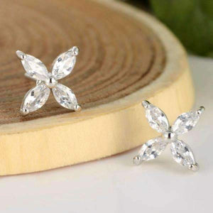 Feshionn IOBI Earrings White Gold ON SALE - Four Petals Austrian Crystal Flower Stud Earrings