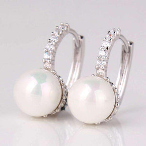 Feshionn IOBI Earrings White Gold ON SALE - Pearl Bead Solitaire Hoop Earrings