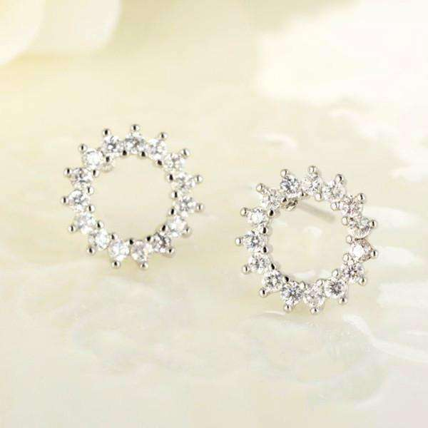 Feshionn IOBI Earrings Perfect Circle Austrian Crystal Stud Earrings