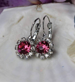 Feshionn IOBI Earrings White Gold Pink Crystal Flower Drop Earrings ~ White or Yellow Gold