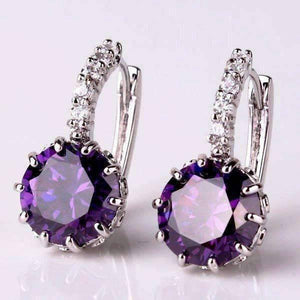 Feshionn IOBI Earrings White Gold plated Cosmic Purple CZ Solitaire White Or Yellow Gold Hoop Earrings