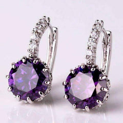 Cosmic Purple CZ Solitaire White Or Yellow Gold Hoop Earrings