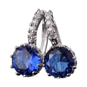 Feshionn IOBI Earrings White Gold plated ON SALE - Sapphire Blue Solitaire White Or Yellow Gold Hoop Earrings