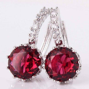 Feshionn IOBI Earrings White Gold plated Ruby Red CZ Solitaire White Or Yellow Gold Hoop Earrings