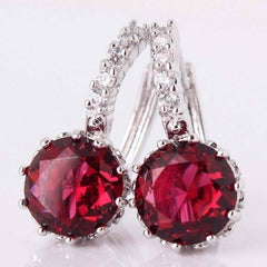 Ruby Red CZ Solitaire White Or Yellow Gold Hoop Earrings