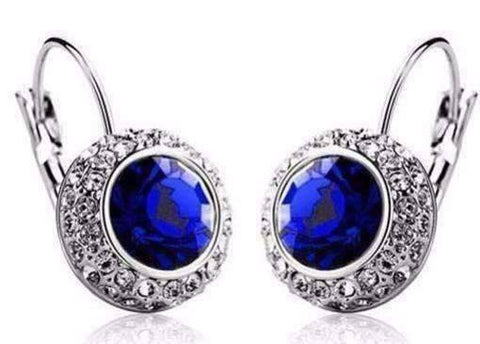 Feshionn IOBI Earrings White Gold / Sapphire Colorful Bezel Set IOBI Crystals Earrings