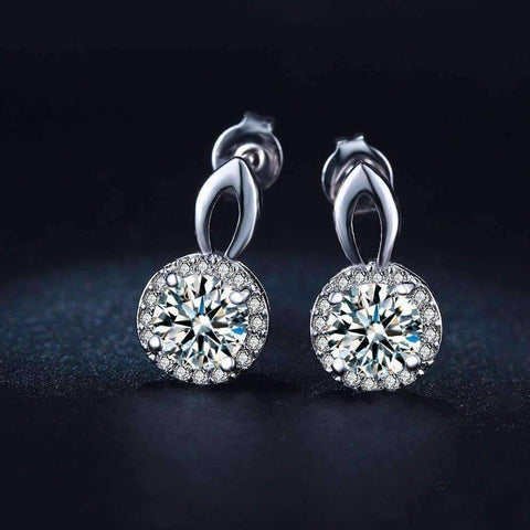 "Feshionn IOBI Earrings White Gold ""Seraphine"" Halo Set .75 CT Cubic Zirconia Drop Stud Earrings"