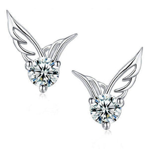 Feshionn IOBI Earrings White Gold Tiny Wings Austrian Crystal Stud Earrings