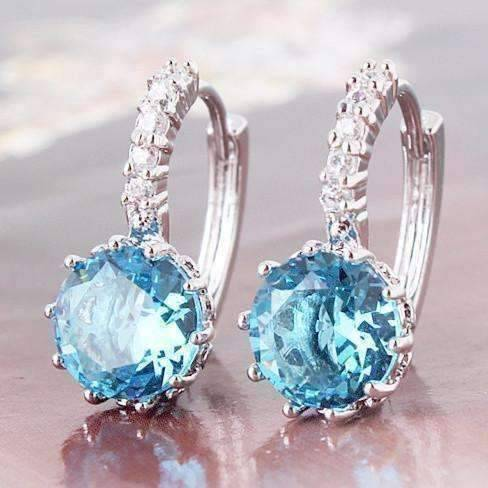 Feshionn IOBI Earrings White Gold Topaz CZ Solitaire Hoop Earrings
