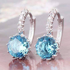 ON SALE - Topaz CZ Solitaire Hoop Earrings