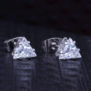 Feshionn IOBI Earrings White Gold Trinity Trillion Cut Austrian Crystal Triangle Stud Earrings