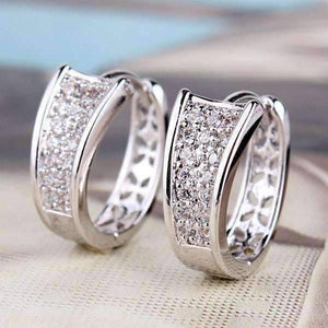 Feshionn IOBI Earrings White Gold Triple Pave Filigree Petite Hoops 18k Gold Plated