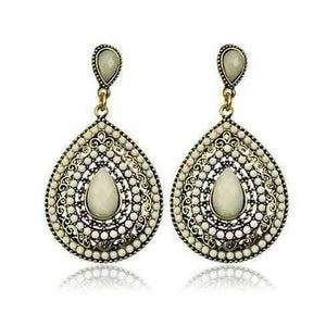 Feshionn IOBI Earrings White ON SALE - Beaded Filigree Drop Earrings in Creamy White