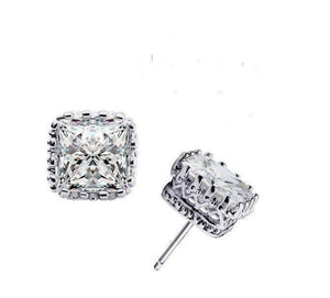 Feshionn IOBI Earrings White Sapphire on Platinum Plated Royal Princess 6mm Cut Simulated White Or Pink Sapphire Stud Earrings