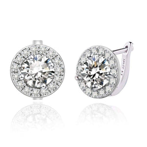 Feshionn IOBI Earrings White Sapphire ON SALE - Round Cut Halo Earrings in Five Elegant Colors