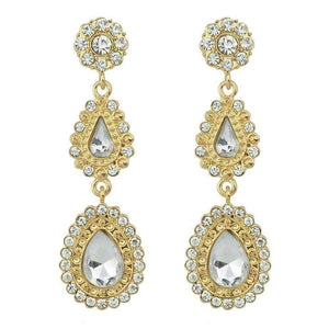 "Feshionn IOBI Earrings White ""Sophia White"" Crystal Drop Earrings"