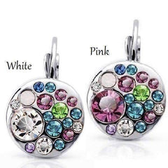 Feshionn IOBI Earrings White Stone Party Confetti Austrian Crystal White Gold Plated Leverback Earrings