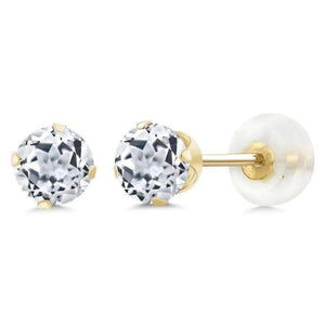 Feshionn IOBI Earrings White Topaz 1.20CTW Genuine White Topaz IOBI Precious Gems Stud Earrings
