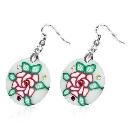 Feshionn IOBI Earrings White with Pink Rose Round Handcrafted Floral Cane Work Clay & CZ Earrings ~ Five Lively Colors to Choose From