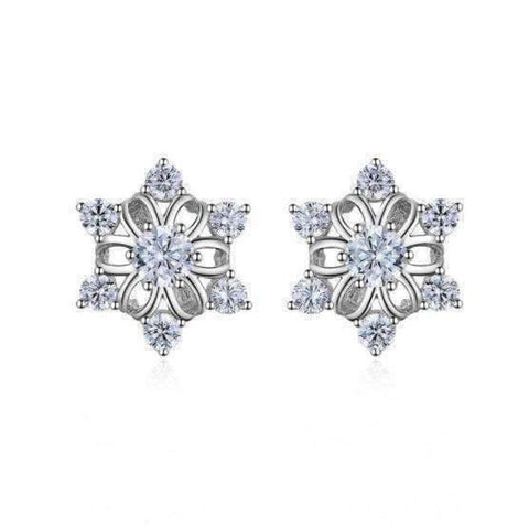 Feshionn IOBI Earrings Winter White Austrian Crystal Snowflake Stud Earrings