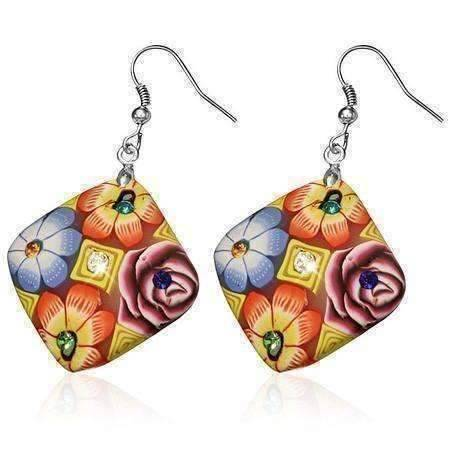 Feshionn IOBI Earrings Yellow Diamond Handcrafted Floral Cane Work Clay & CZ Earrings ~ Two Lively Colors to Choose From